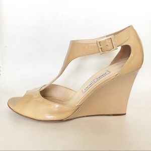 Jimmy Choo nude patent leather wedges sandals 9.5